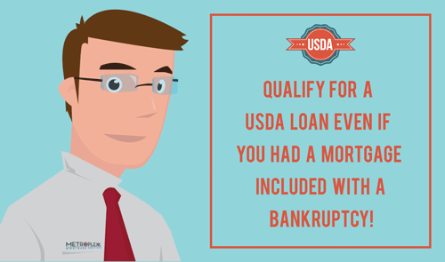What are the USDA and FHA waiting periods if a home was included in bankruptcy