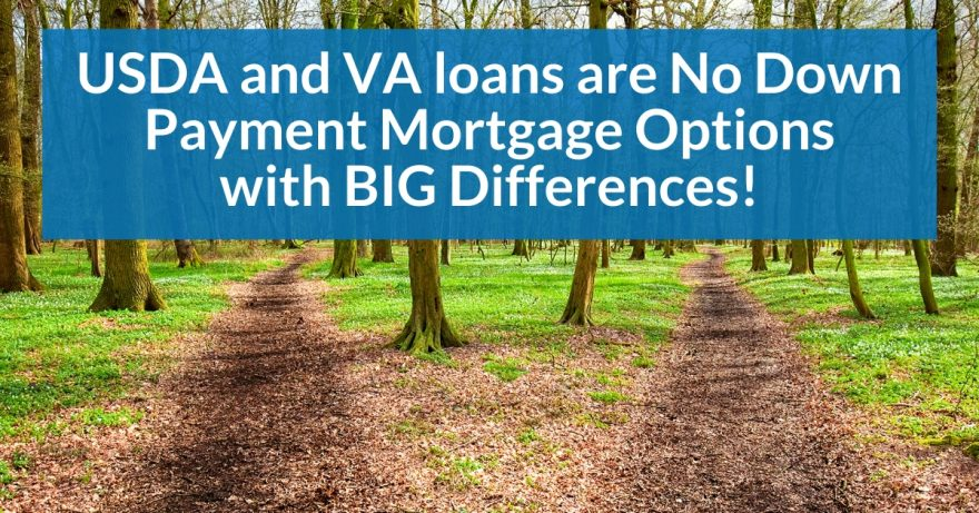 USDA and VA loans are No Down Payment mortgage options with BIG differences
